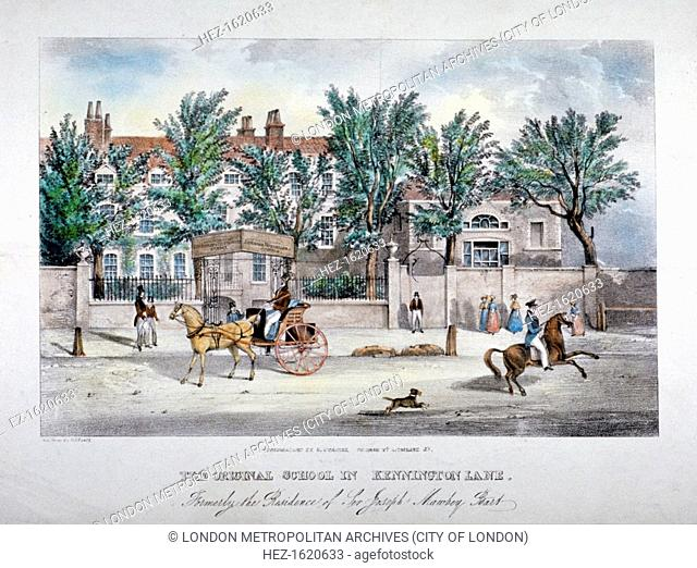 The Licensed Victuallers' School, Kennington Lane, Lambeth, London, c1841. View with figures, a dog running behind a man on horseback and a carriage in front