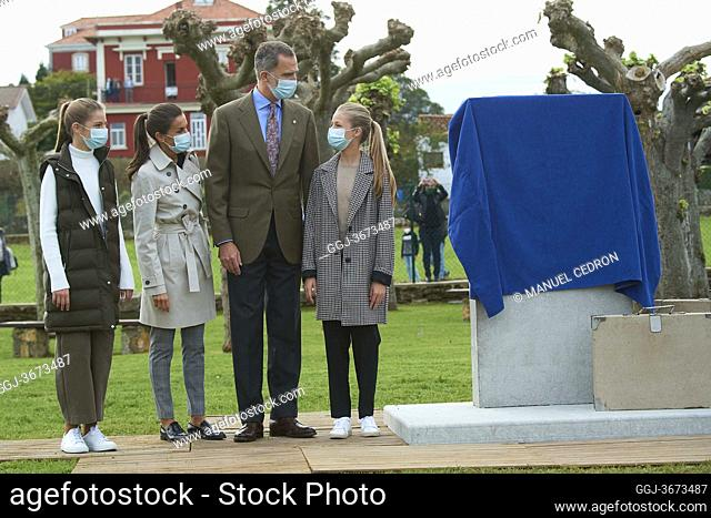 King Felipe VI of Spain, Queen Letizia of Spain, Crown Princess Leonor, Princess Sofia visit Somao, exemplary village during Princess of Asturias Awards 2020 on...
