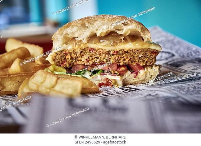 A veggie burger on newspaper