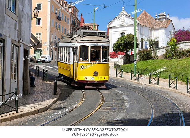 Old Tram on street in Lisbon, Portugal, Europe