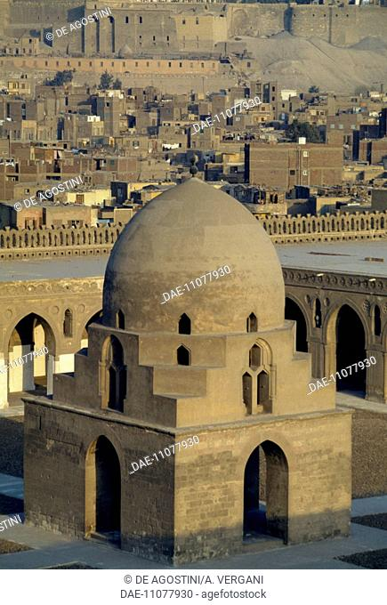 Courtyard with 13th century fountain, Mosque of Ahmad ibn Tulun, Cairo. Egypt, 9th century