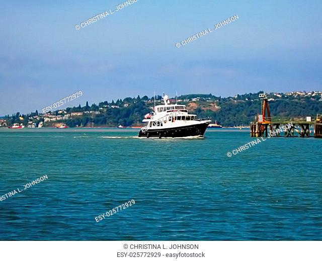 A photograph of a motorized yacht