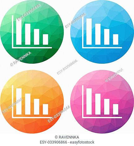 Collection of 4 isolated modern low polygonal buttons - icons - for column graph