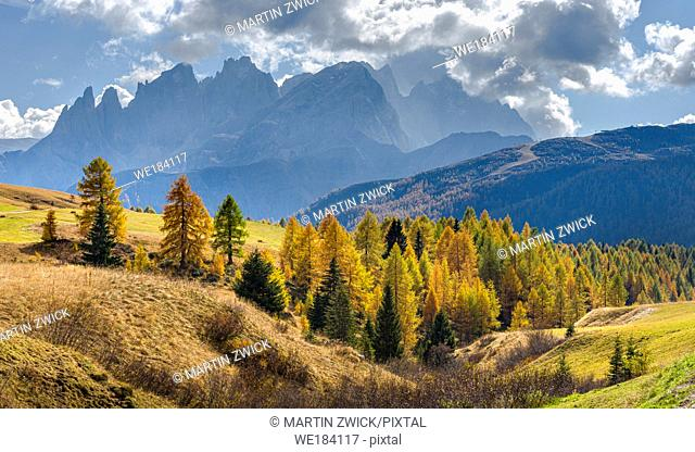 View towards Pale di San Martino, Focobon mountain range, in the Dolomites of Trentino, seen from alpe Fuciade in the southern Marmolada range