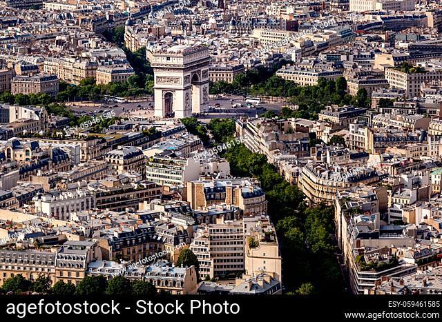 Aerial View on Arch de Triumph from the Eiffel Tower, Paris, France