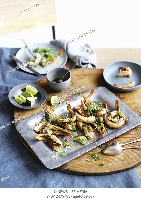 King prawns with coriander and chilli butter
