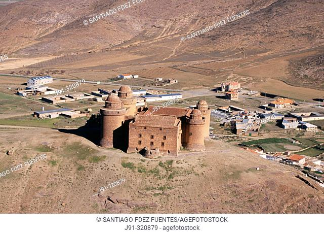 Aerial view of the castle of Lacalahorra. Granada province. Andalusia. Spain
