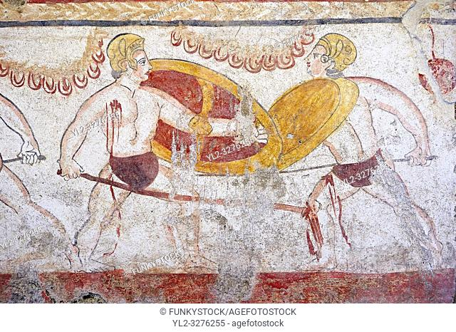 Lucanian fresco tomb painting of 2 warriors fighting, Paestrum, Andriuolo. 3rd Century BC