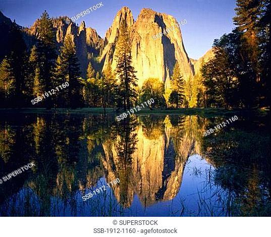 Cathedral Rocks Reflection in Spring Pools along Merced River Yosemite Valley Yosemite National Park California