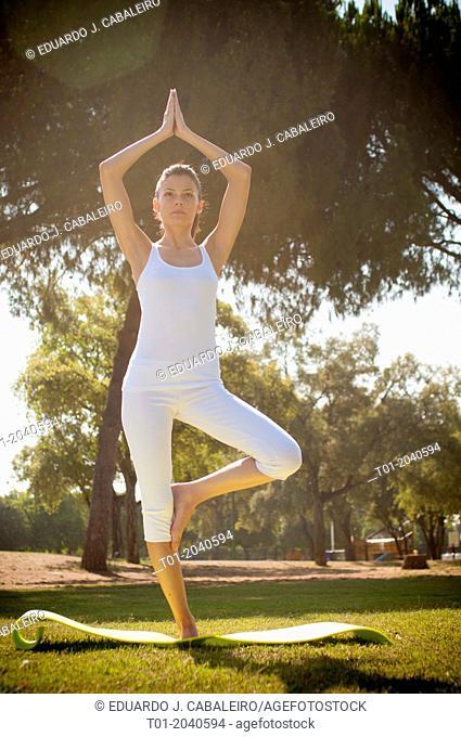 yoga girl in a park