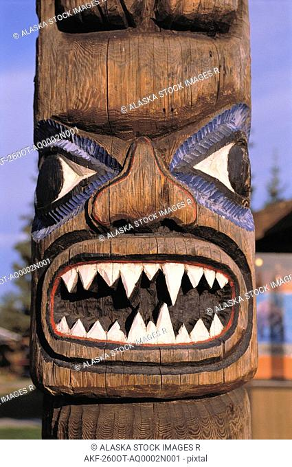 Detail of Totem Pole Tok Alaska Summer