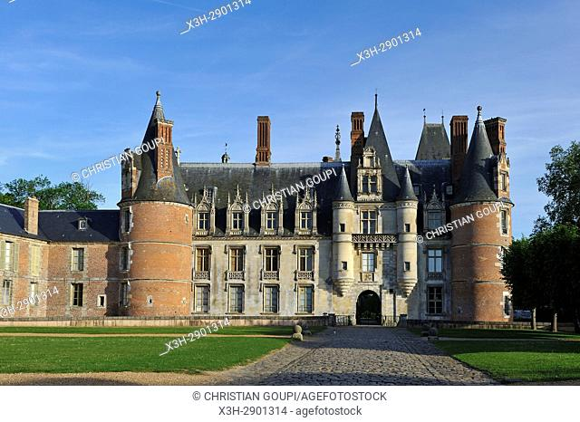 West facade of the Chateau de Maintenon, Eure-et-Loir department, Centre-Val de Loire region, France, Europe