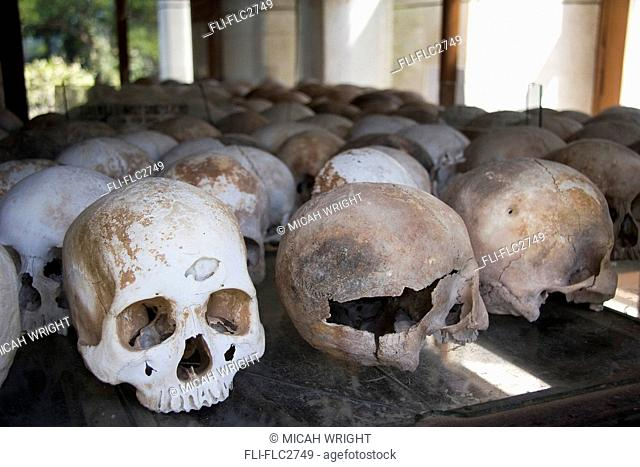 Display of human skulls at Choeung Ek Killing Fields, Phnom Penh, Cambodia