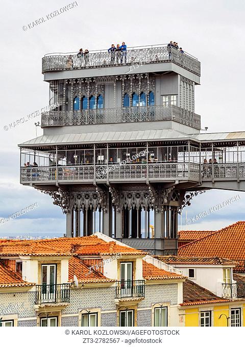Portugal, Lisbon, View of the Santa Justa Lift