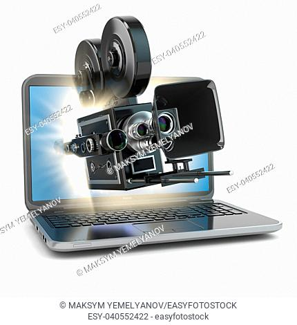 Video concept. Retro camera and laptop. 3d