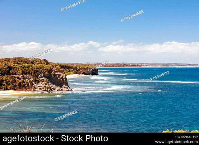 The popular Eagles Nest Beach in between Inverloch and Cape Paterson on a hot summer's day in the Bass Coast, Victoria, Australia