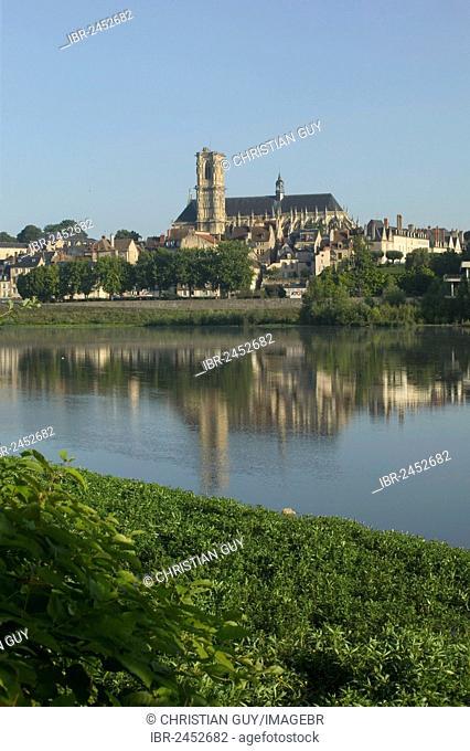 Saint-Cyr-et-Sainte-Juliette cathedral across River Loire, Nevers, Loire valley, Nievre, Centre, France, Europe