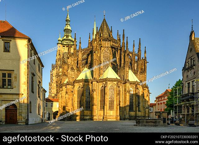 Gothic St. Vitus Cathedral located within the 3rd courtyard of Prague castle in Prague, Czech Republic, June 10, 2021. (CTK Photo/Jiri Castka)