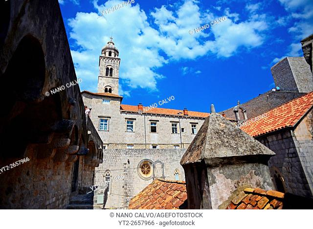View of the Old Town from the walls of Dubrovnik with tower of Dominican Monastery, Croatia