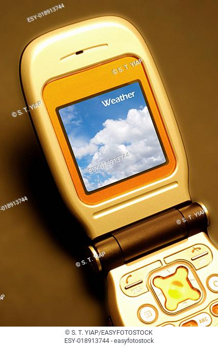 Mobile phone with weather screen