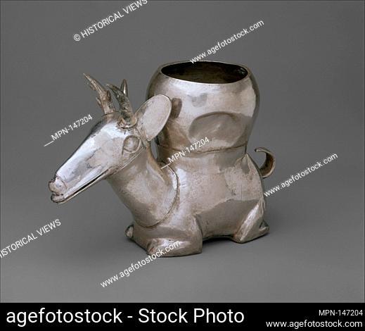 Deer Vessel. Date: 14th-15th century; Geography: Peru; Culture: Chimú; Medium: Silver; Dimensions: H. 5 x W. 3 1/4 x L. 7 1/2 in. (12.7 x 8.3 x 19