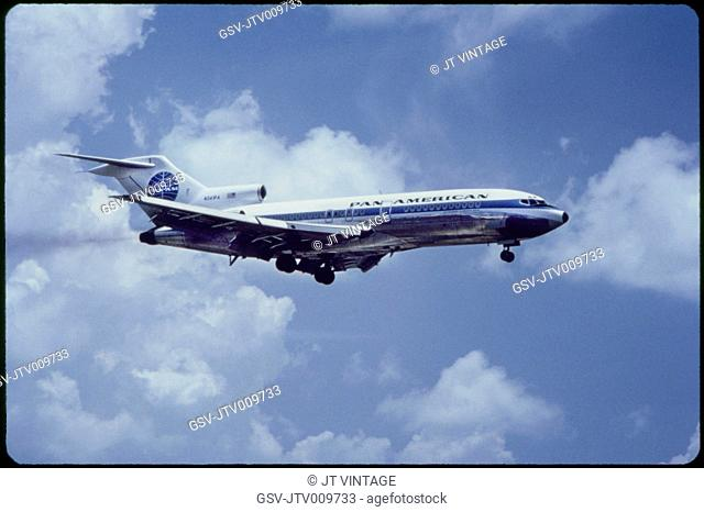 Pan American Airlines Boeing 727-21 Commercial Jet In-Flight, 1960's