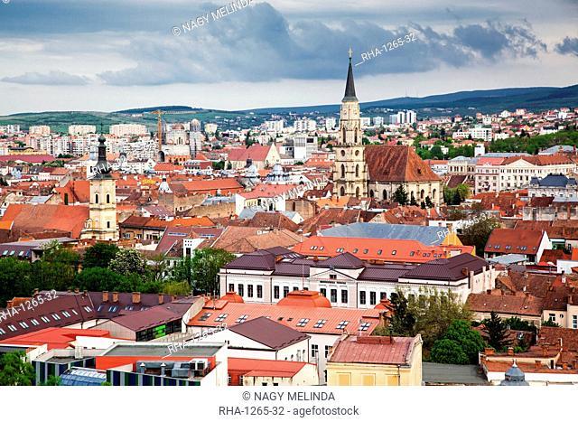 View on Cluj-Napoca from the Citadel Hill with Saint Michael's Church, Cluj-Napoca, Transylvania, Romania, Europe