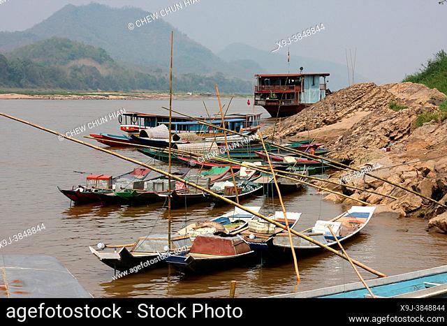 Riverboats, Mekong River. Luang Prabang, Laos