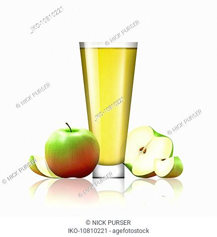 Fresh apples and glass of apple juice
