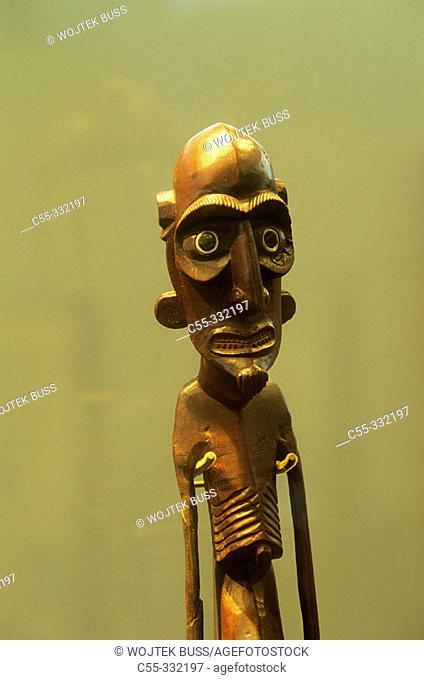 Wood statue. Museum. Hanga Roa village. Easter Island. Chile