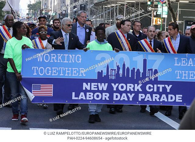 Fifth Avenue, New York, USA, September 09 2017 - Thousands of spectators, union workers and Politicians participated on the 2017 Labor Day Parade today in New...