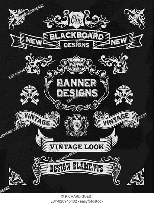 Hand drawn blackboard banner and ribbon set