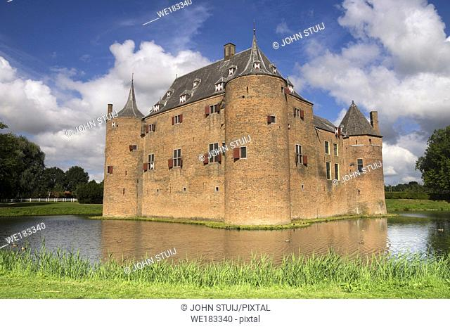 Beautiful view at the Ammersoyen Castle in the Dutch village Ammerzoden