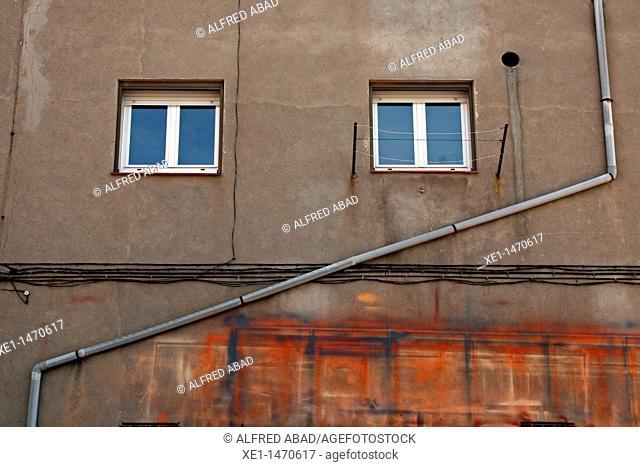gutters, windows, Sant Guim de Freixenet, Catalonia, Spain