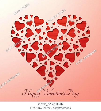 Valentine's day heart on paper card