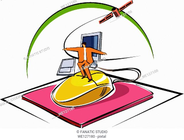 Businessman surfing on a computer mouse