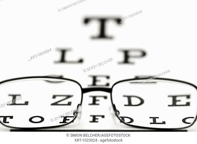 Snellen Eye Chart and Glasses