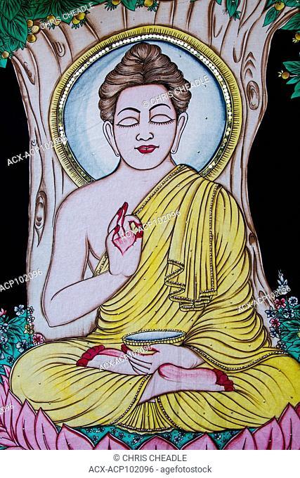 Buddha art at Muni Ki Reti, sometimes known as Lakshman Jhula, Rishikesh area, Tehri Garhwal district, Uttarakhand, India