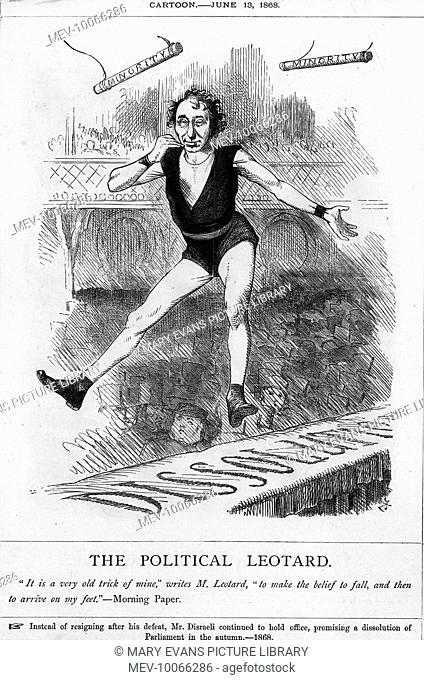 BENJAMIN DISRAELI Dizzy in acrobat's costume pretends to fall, only to end up on his feet: he will not resign after political defeat
