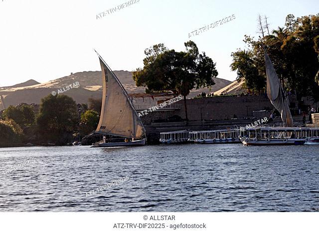 EGYPTIAN FELUCCAS & BOATS; RIVER NILE, ASWAN, EGYPT; 10/01/2013