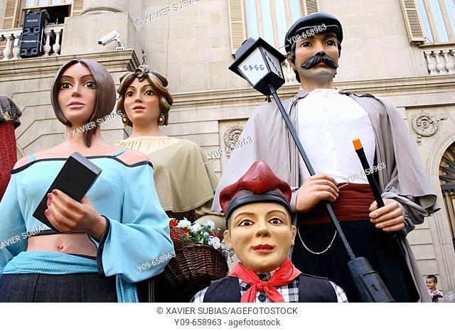 'Gigantes y cabezudos'. Mercè festivals. Plaça de Sant Jaume.  Barcelona, Spain