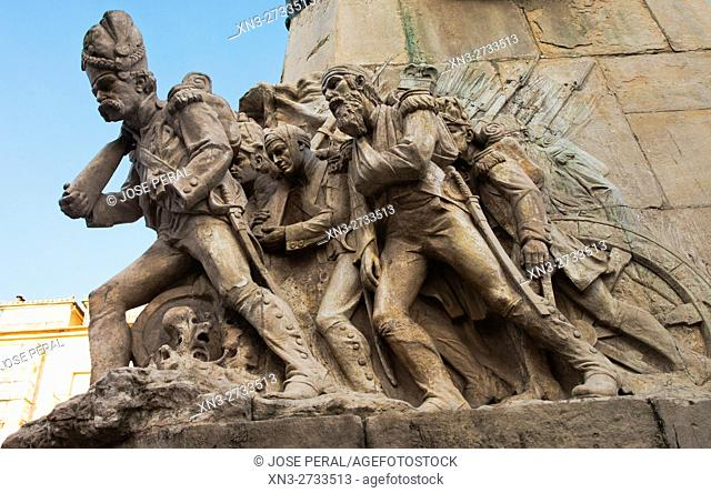 The French withdrawal, monument to the Battle of Vitoria, Virgen Blanca Square, Vitoria, Basque Country, Spain, Europe
