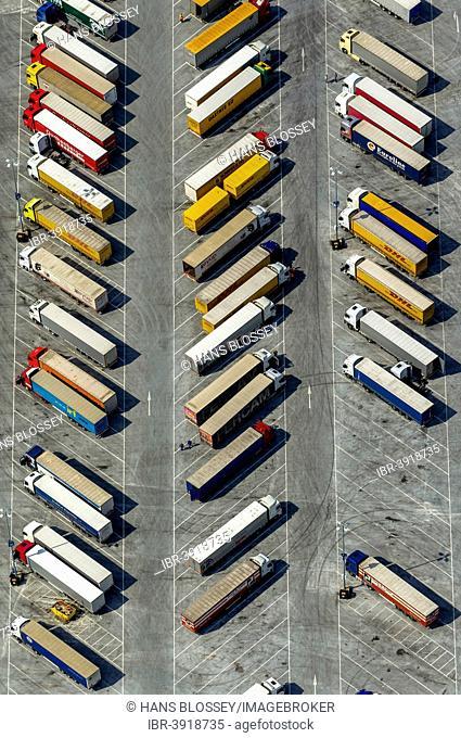 Aerial view, truck parking at IKEA logistics center Ellingshausen, Mengede, Dortmund, Ruhr district, North Rhine-Westphalia, Germany