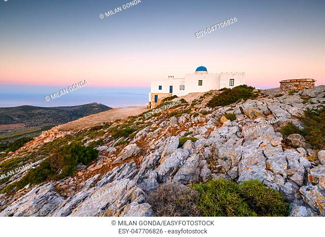 Church of Agios Symeon above Kamares village at sunset.