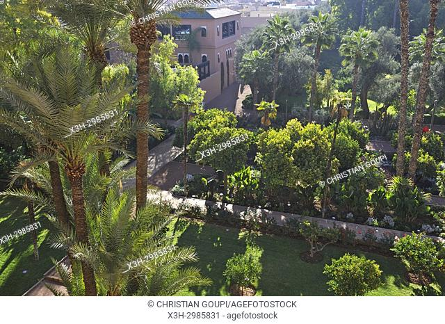 view over the gardens from the balcony of a suite of the luxury 5 stars hotel La Mamounia, Marrakesh, Marocco, North Africa