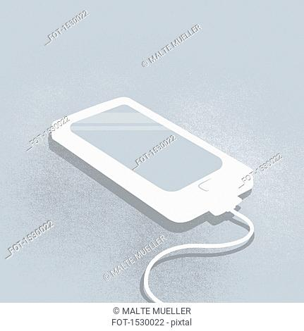 Illustration of smart phone charging against gray background