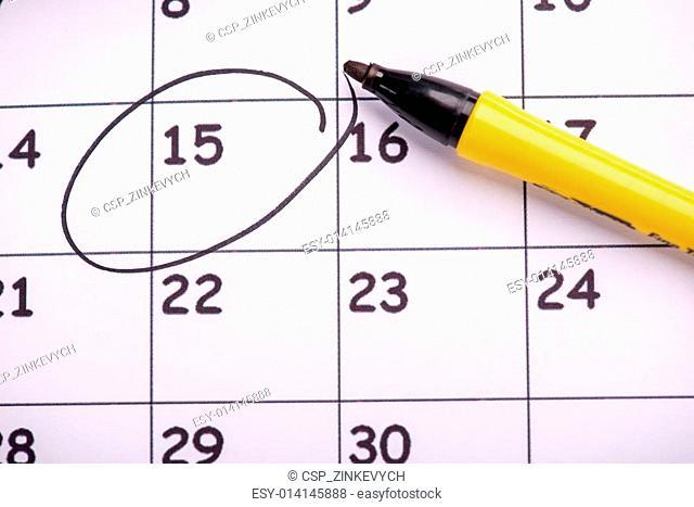 Close-up photo of calendar