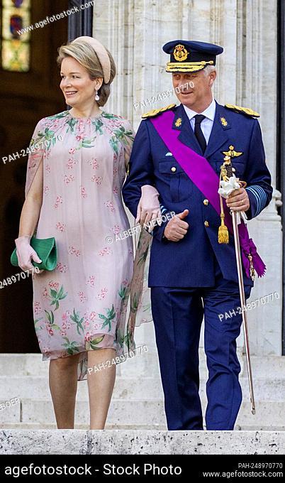 King Filip and Queen Mathilde of Belgium leave at the Sint-Michiels-en-Sint Goedelekathedraal in Brussel, on July 21, 2021