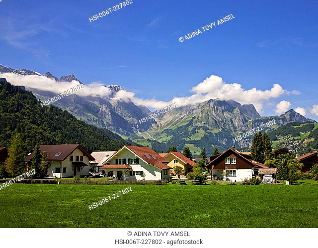 Europe. Switzerland. Engelberg. View of houses at edge of town