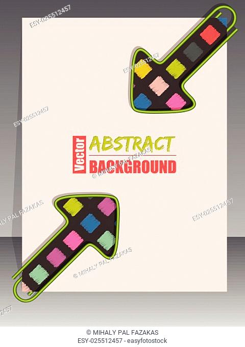 Cool scrapbook cover template design with 2 arrow shaped binder clips
